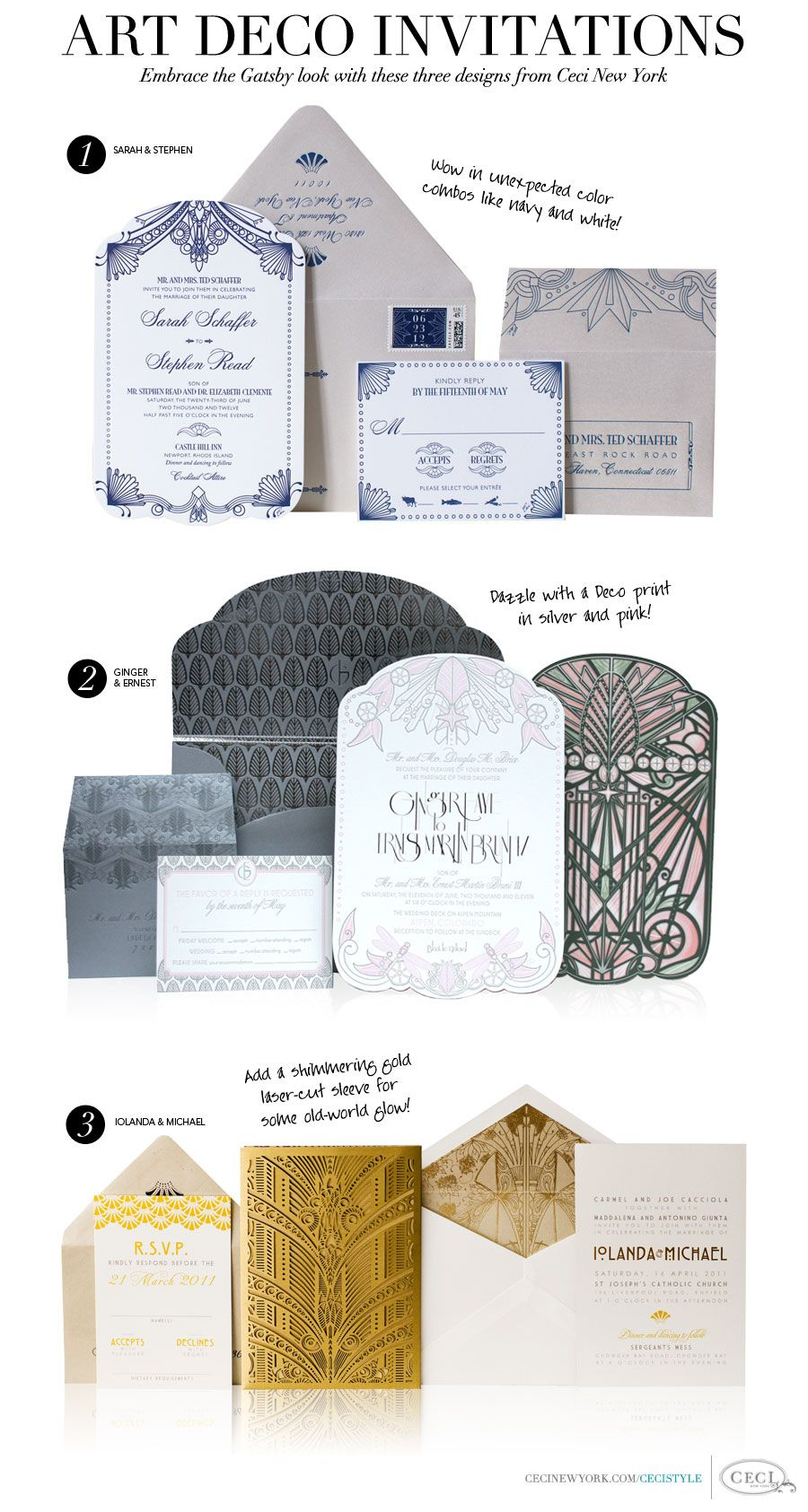 CeciStyle v146: Art Deco Invitations - Embrace the Gatsby look with these three designs from Ceci New York