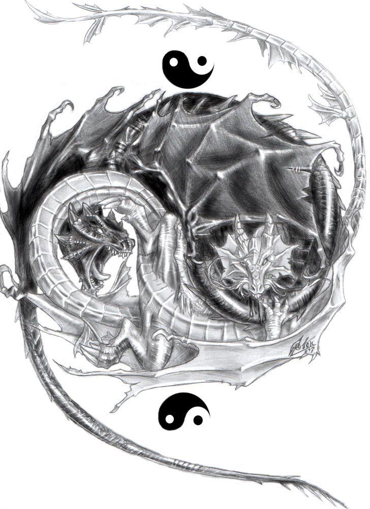 Yin Yang Two Dragon Taijitu With Interesting Treatment Of