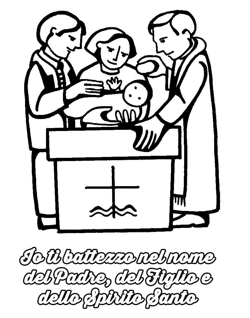 disegni da colorare battesimo bambini