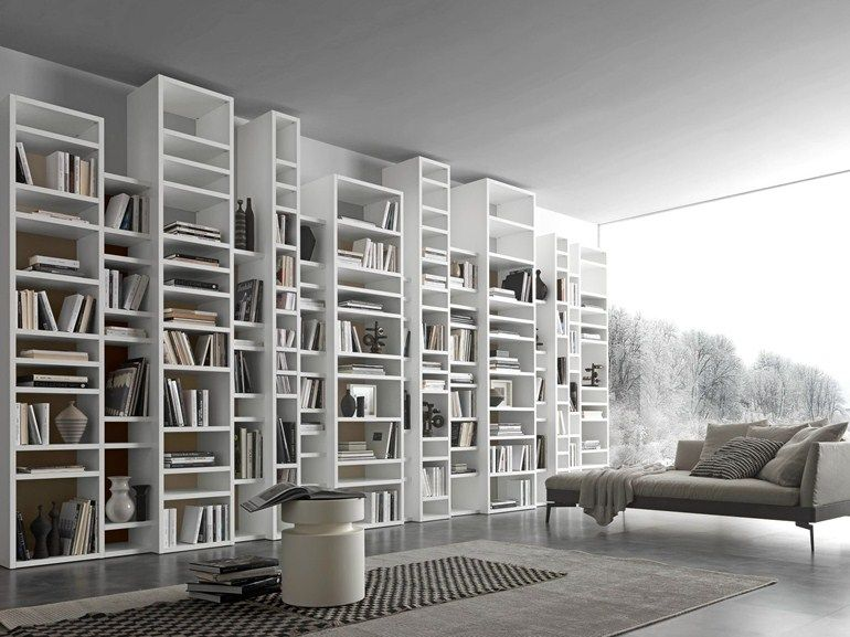Open wall mounted sectional bookcase comp 340 by presotto for Presotto industrie mobili