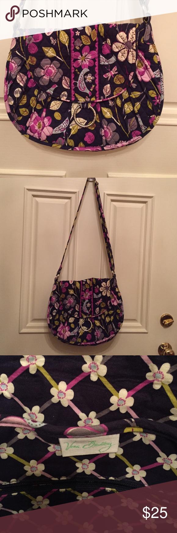 Vera Bradley Handbag EUC Floral Nightingale pattern. Adjustable strap, front flap, 2 big pockets under flap, 3 slip pockets inside with zipper pocket on other side. Vera Bradley Bags Shoulder Bags