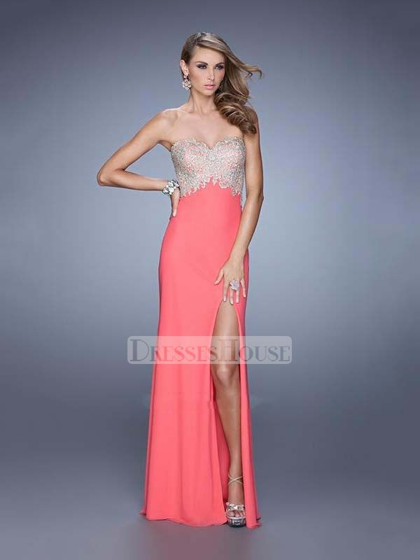 A-line Sweetheart High Slit Beaded Bodice Chiffon Prom Dress PD11978