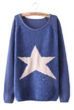 Blue Long Sleeve Star Embellished Pullovers Sweater $31.94