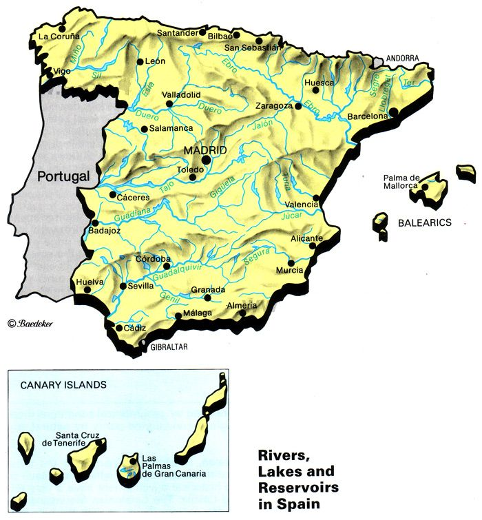 Map Of Spain Geography.Map Spain Reliefs Rivers Lakes Maps Geography History