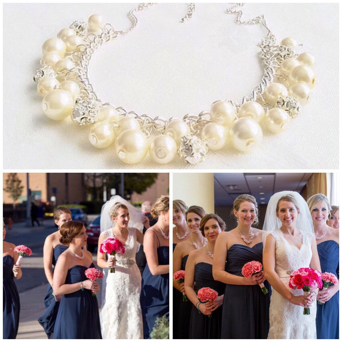 A personal favourite from my Etsy shop https://www.etsy.com/uk/listing/196131359/ivory-cluster-necklace-ivory-bridesmaid