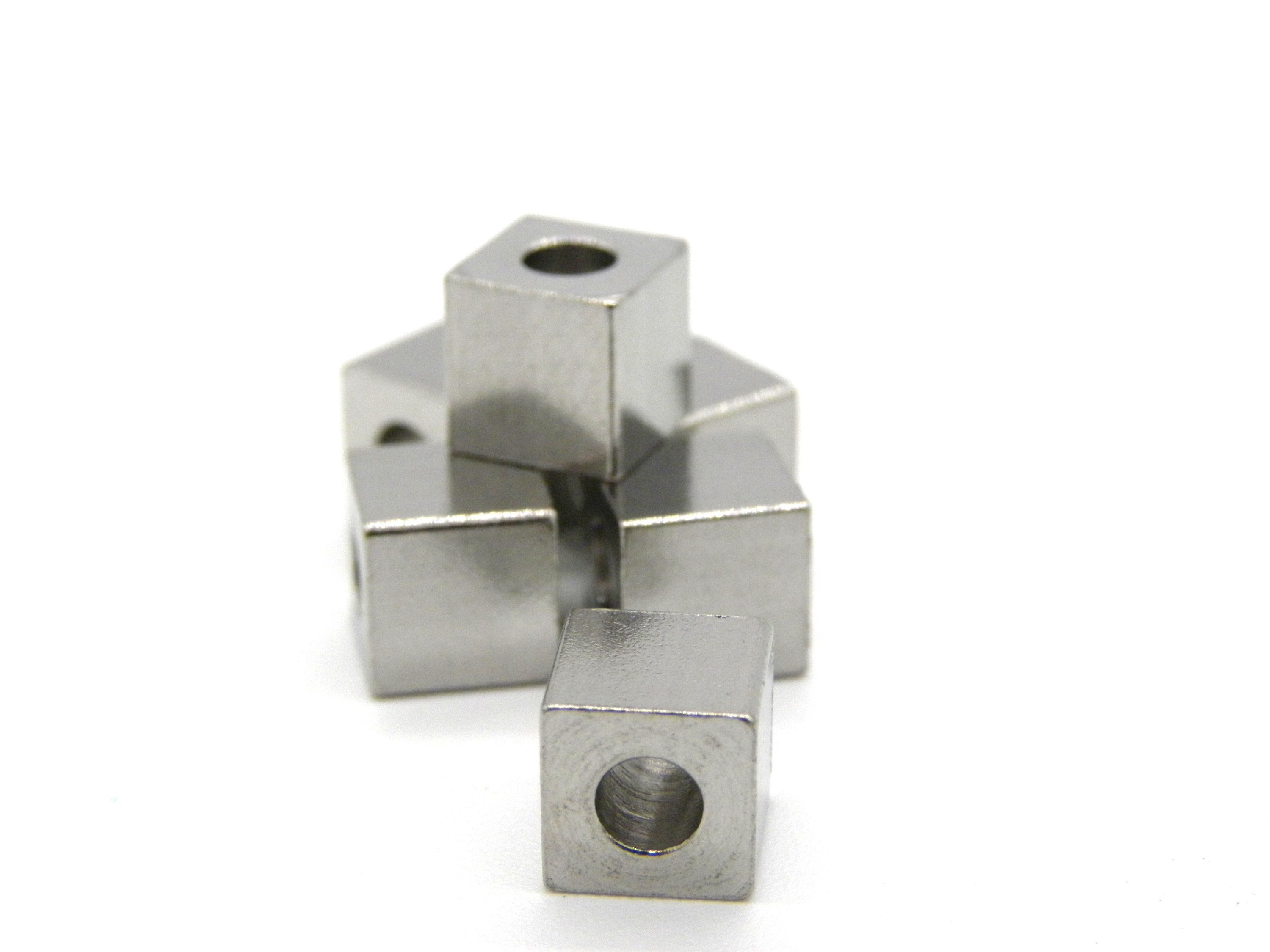 6x6 Mm Medium Cube Solid Stainless Steel Beads 10 Pc Silver Stainless Beaded Material Stainless Steel