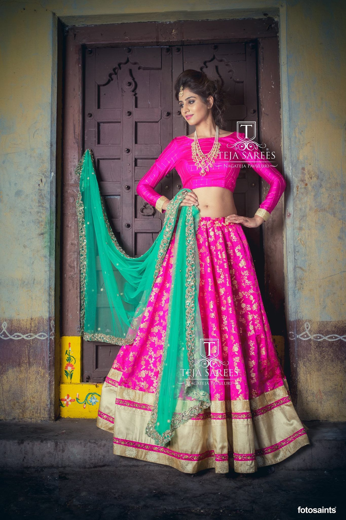 Here is a Beautiful Banarasi Pink Lehanga and pink designer blouse with full sleeves from Team Teja!!!