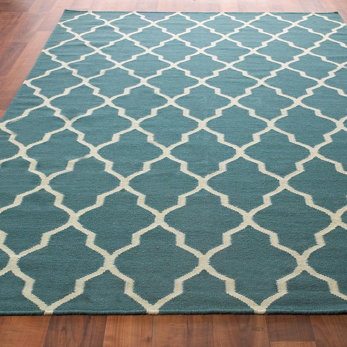 Rug With Turquoise Sofa: Diamond Trellis Dhurrie Rug
