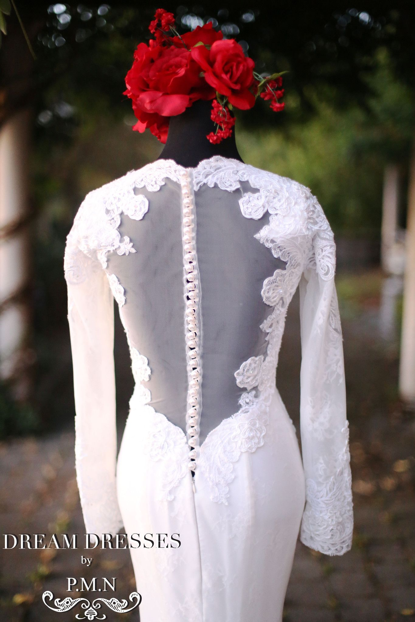 Long sleeve wedding dress with cathedral train style pb