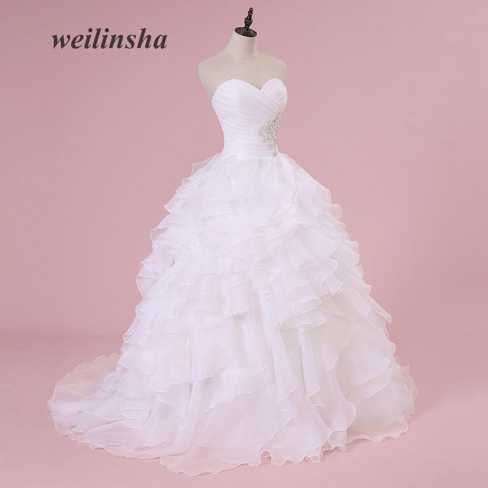 Ruffles Beading Sweetheart Organza Wedding Dress