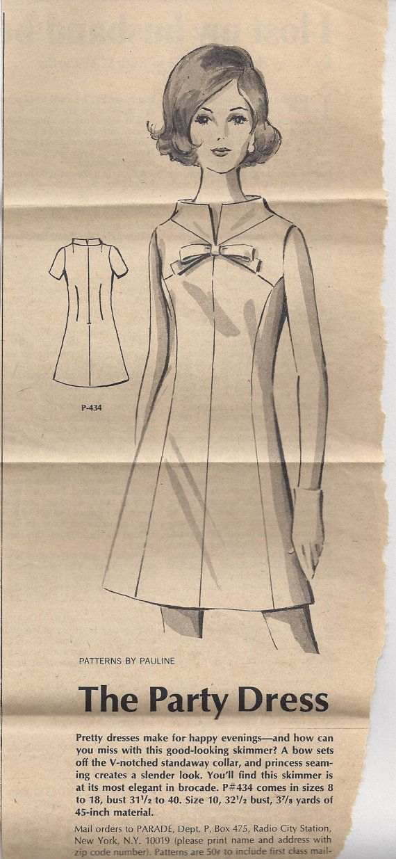 1968 Patterns By Pauline 1 434 Dress Size 10 Mail Order Vintage ...