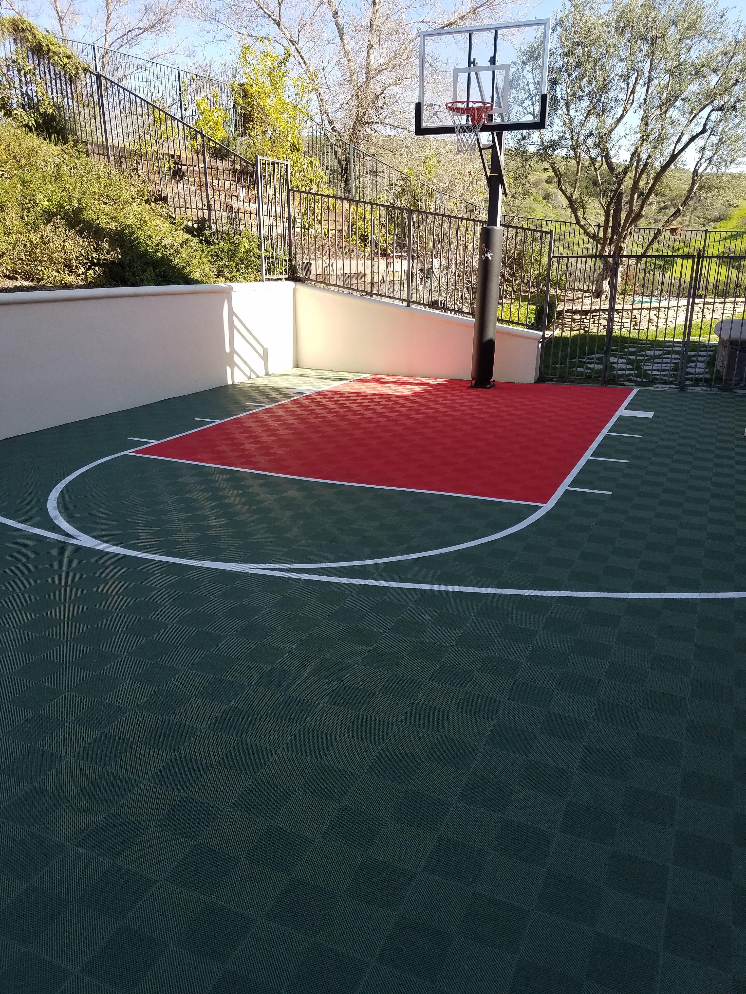 Sport Basketball Court Floor 30x25 Kit Modutile Interlocking Sport Tiles Basketball Court Backyard Backyard Court Backyard Basketball