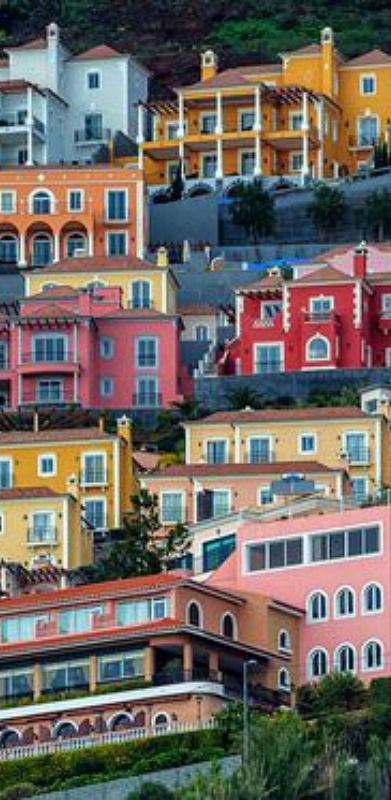 Colorful houses of Funchal City, Madeira Island House