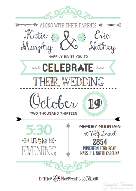 quite like the style of having different fontssizes for all the – Free Wedding Invitation Card Template