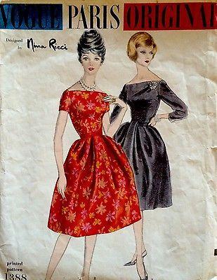1960 Vintage Vogue Paris Original Nina Ricci Dress Sewing Pattern 1388   eBay