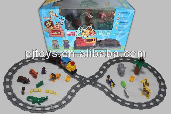 newest legos kids intellect b/o train plastic building block toys mini zoo $10.5~$11