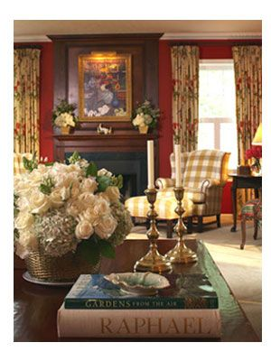 English Style Living Room, Red Walls, Buffalo Check Wingback Chair .