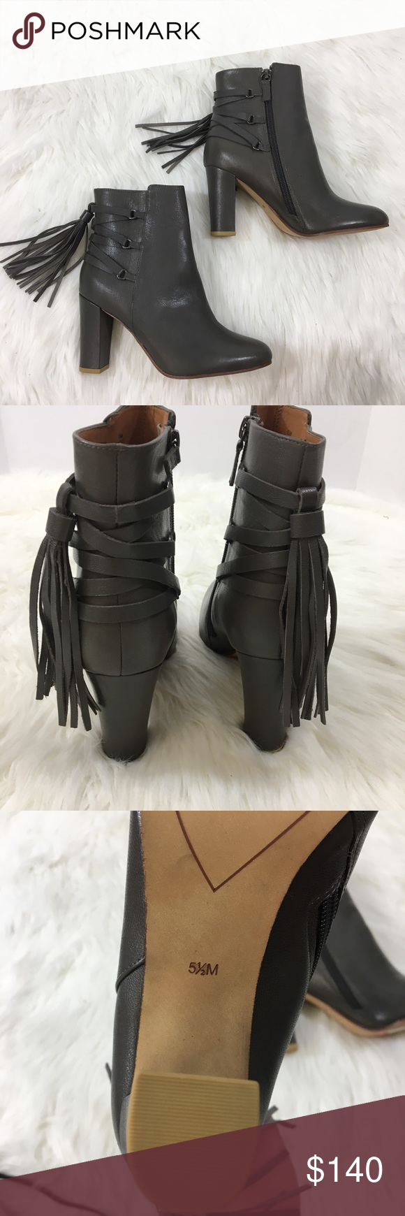 805155ddadaeb Detailed backing with multiple straps and cute fringes tassels that sway  with every step✨💓✨ Halogen Shoes Ankle Boots   Booties. Halogen Grey Sadee  ...