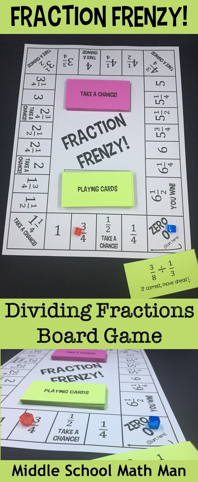 Fraction Frenzy! A Dividing Fractions Board Game | Math board games ...