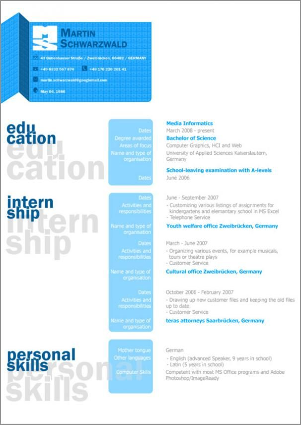 Graphic Design Resume Examples Resume  Lebenslauf