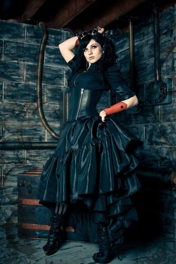 Plus Size Steampunk Skirt - Pirate Gothic Renaissance  - Black Ellis Style-  Custom to Order 2XL- 5XL on Etsy, $120.00