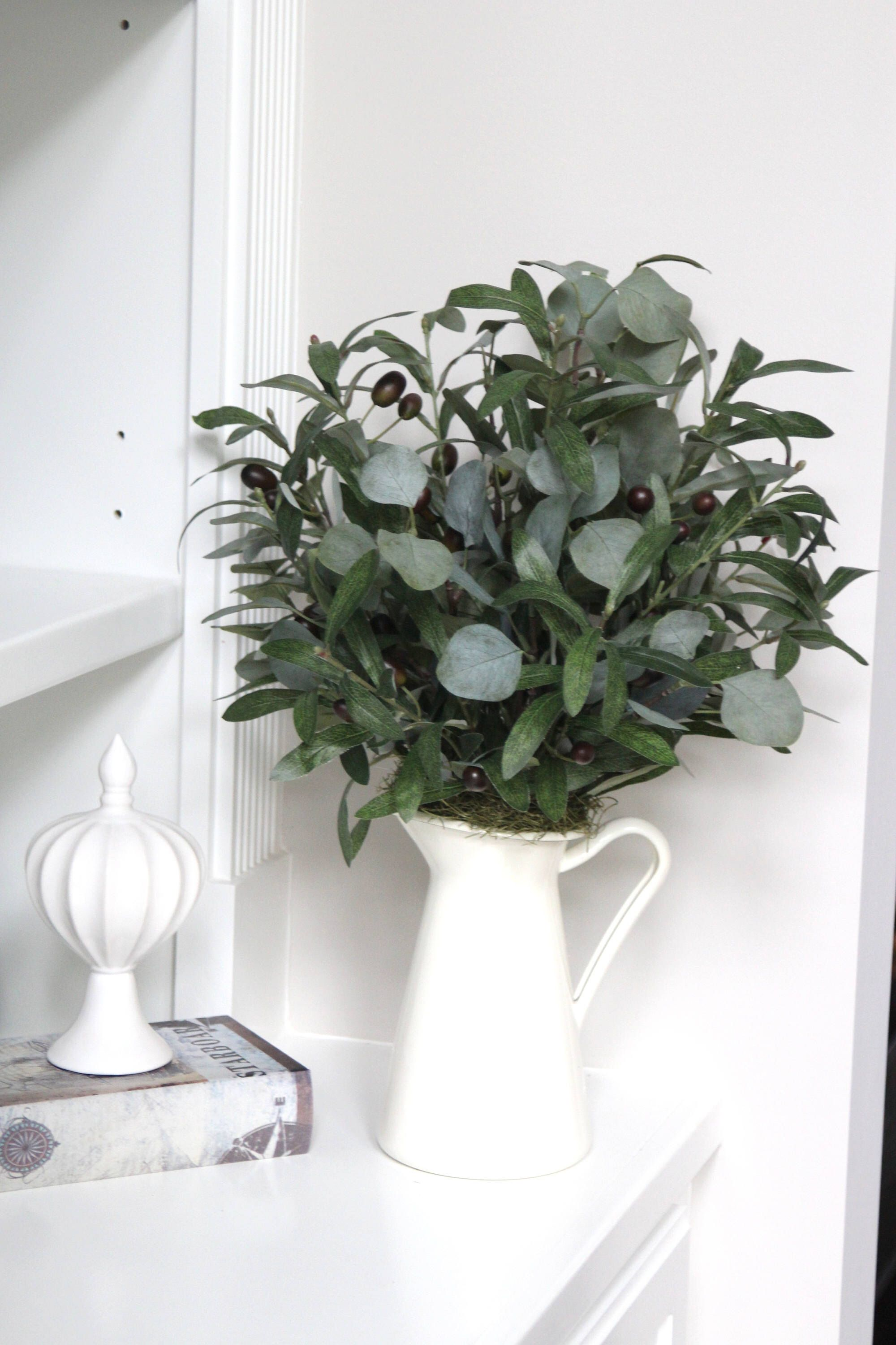 Farmhouse Decor, Faux Greenery Arrangement, Olive Branches And Eucalyptus In