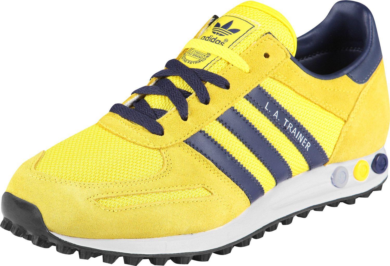 zapatillas adidas trainer amarillas y gris