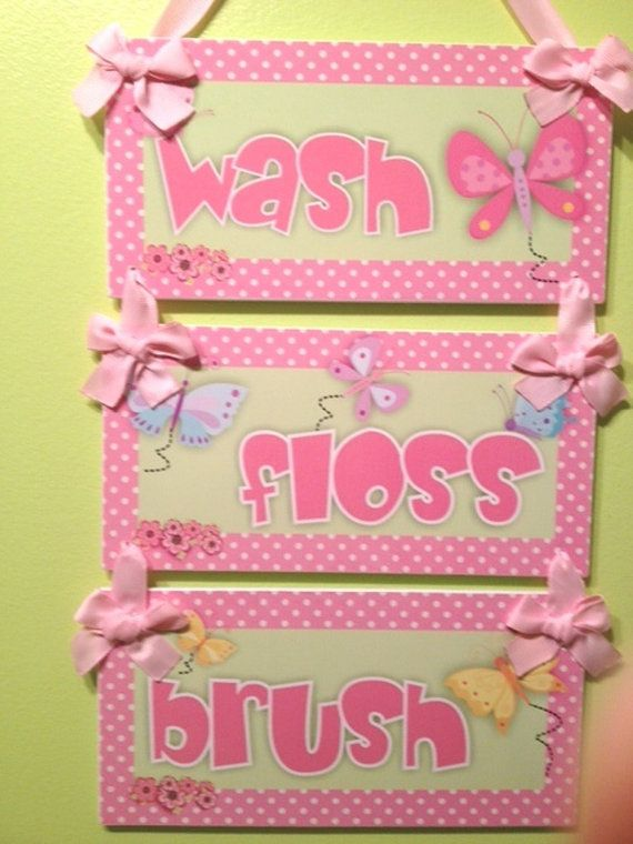 Sweet butterflies themed bathroom rules  wash floss by kasefazem, $33.99