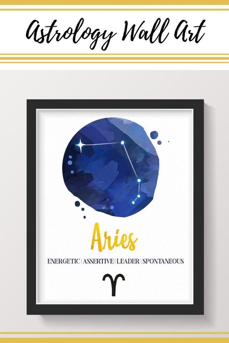 Aries Art Zodiac Wall Art Star Chart Constellation Art Etsy Horoscope Art Aries Art Constellation Art