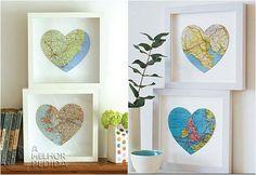 4 quadros de parede com mapa mundi em formato de coração
