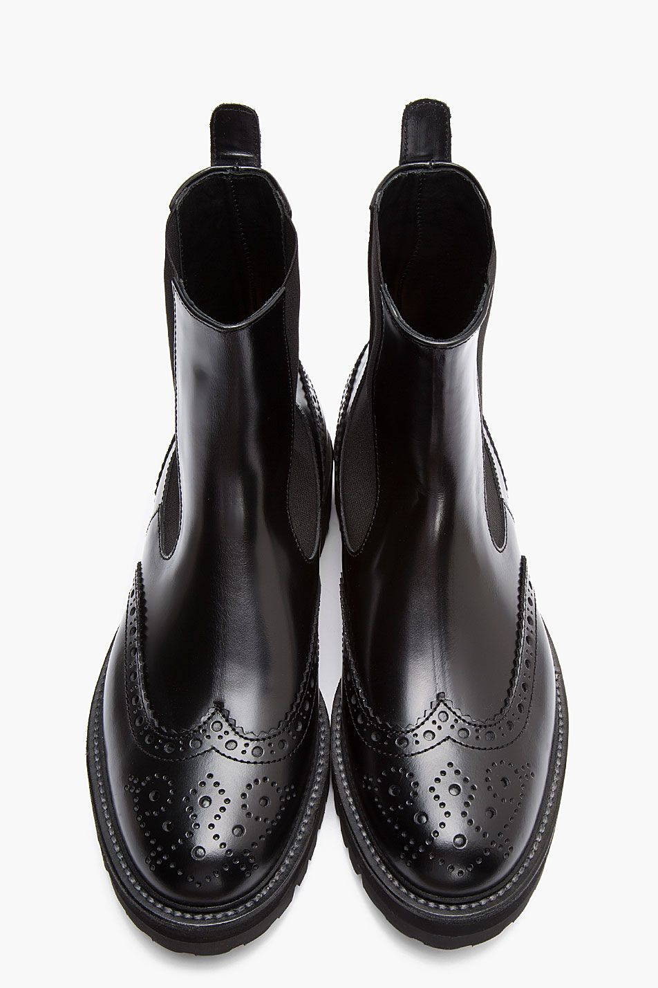 Black Leather Chelsea Wingtip Brogue Boots