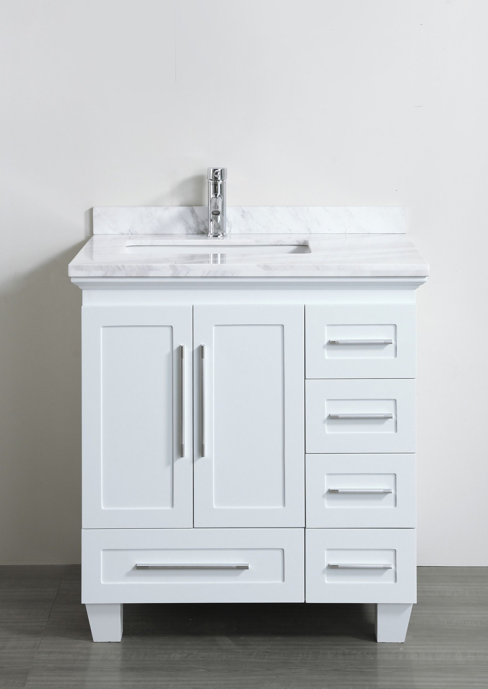 Accanto Contemporary 30 inch White Finish Bathroom Vanity Marble Countertop  Bathroom Vanities