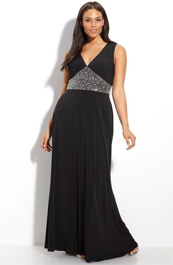 just got this JS Boutique Beaded Waist Jersey Gown (Plus ...