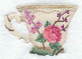 Machine Embroidery Designs at Embroidery Library! - Blooming Beauty Teacup