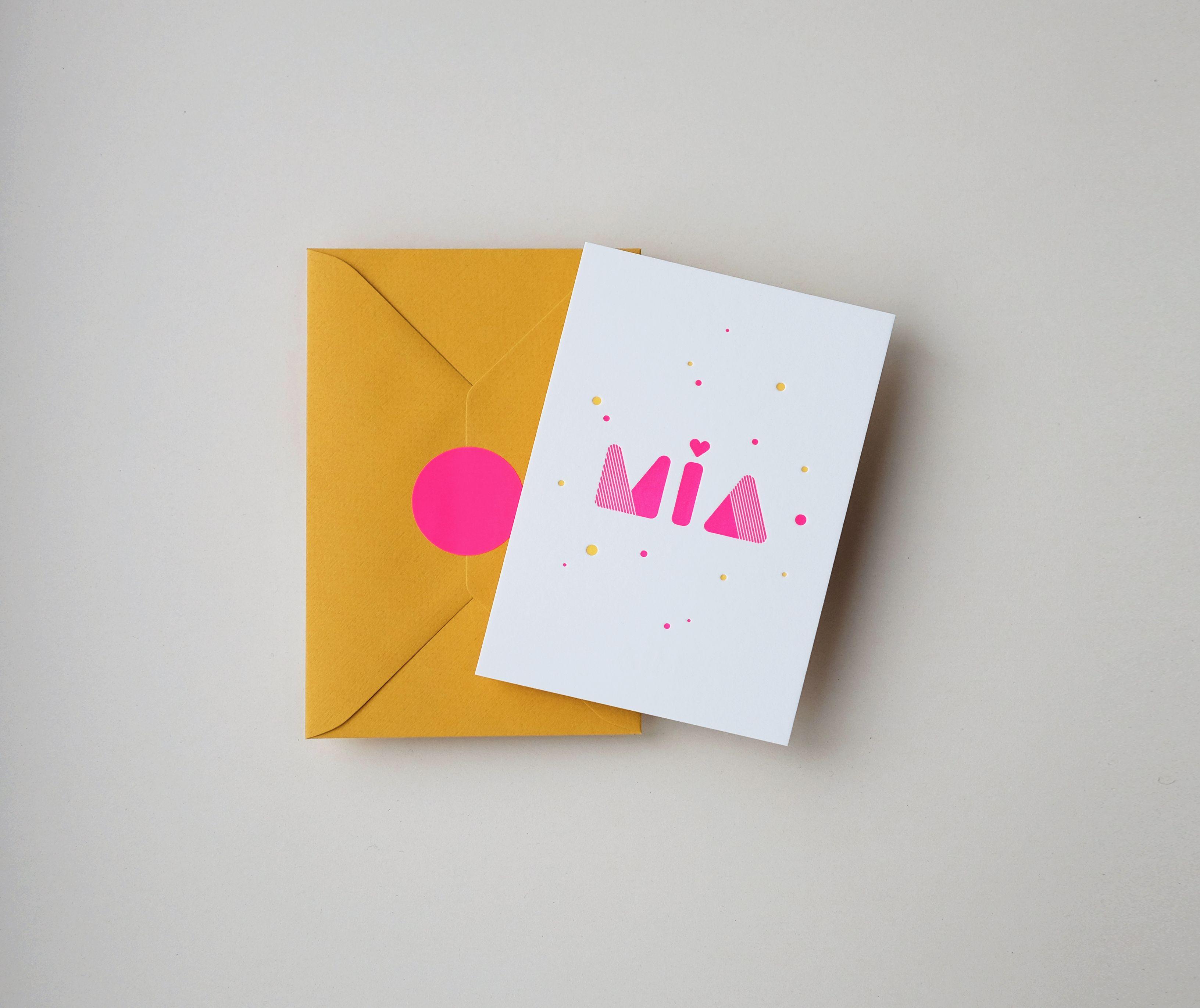 MIA birthannouncement letterpress, popcolor pink and yellow - studio sijm