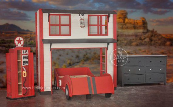 Twin Over Twin Garage Race Car Loft Bunk Bed Products Room