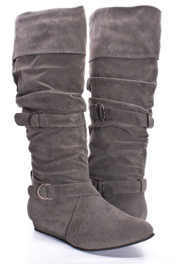 GREY FAUX SUEDE BUCKLE STRAP COLLAR LOW WEDGE BOOTS