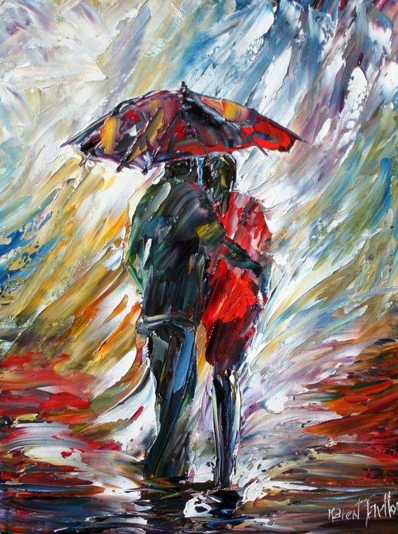 Personnalisé Original peinture à l'huile Commission Romance Couple couteau à palette fine art ...