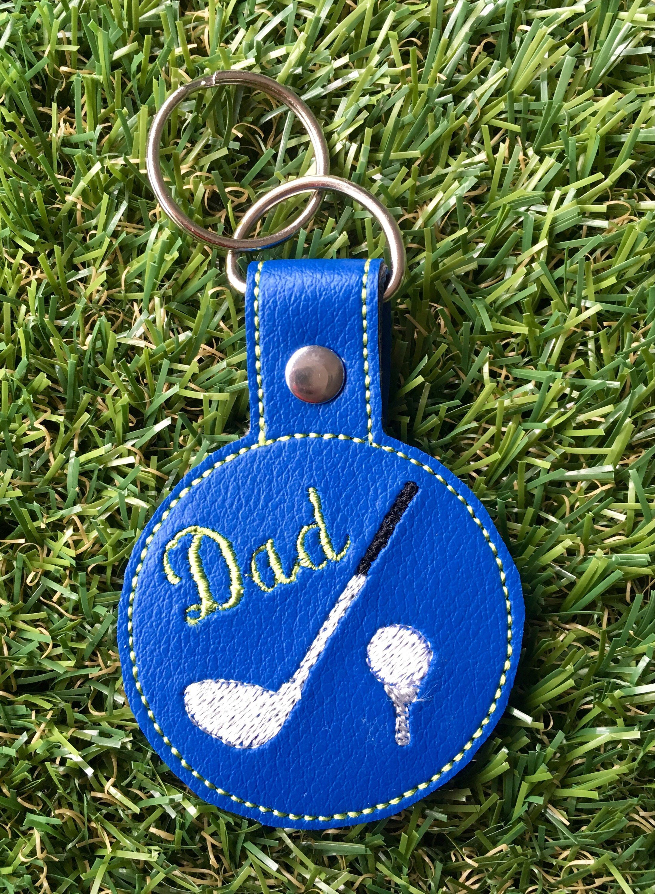 Dad golf tee personalised key fob faux leather keyring