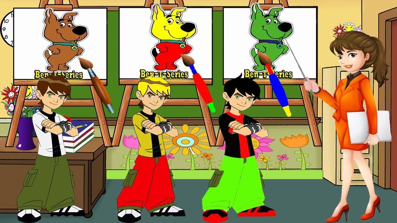 Ben 10 Art Class Kids School Drawing And Coloring Scooby Doo | Ben ...