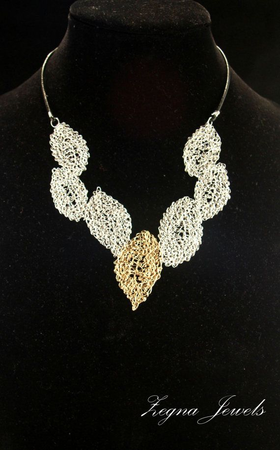 Silver Wire Crocheted Statement Necklace And By Zegnajewelry My