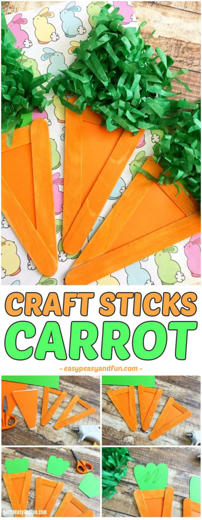 Carrot Craft  Easter Craft Idea for Kids is part of Simple Kids Crafts For Boys - Another festive season is upon us! Are you ready to do some Easter crafts with your kids  Today we are sharing an easy craft stick carrot craft with you, which is perfect for the season  This would also be a fun craft for the classroom as kids can make these and then you can make …