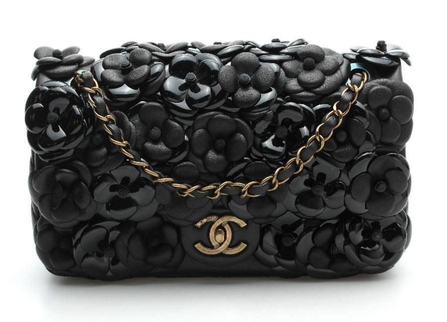 0a708f32dbe3 Chanel Black Leather Camellia Flower Applique Classic Small Flap Bag