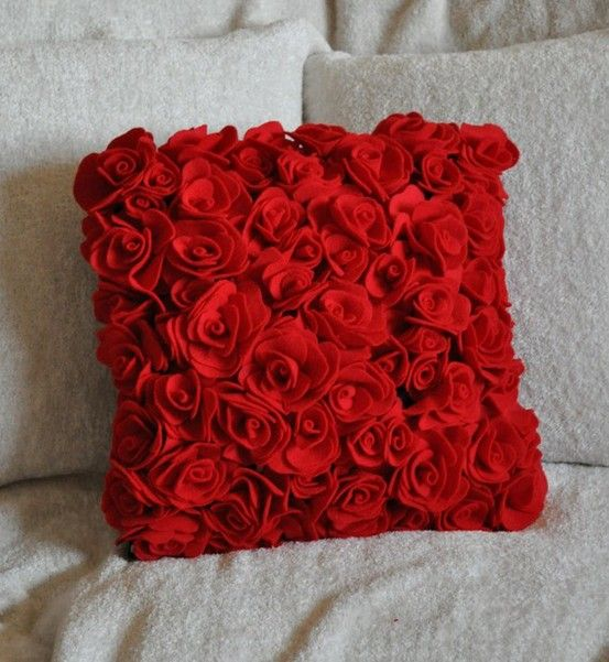 Red Rose Pillow Poss Make From Machine Washable Fabric Red