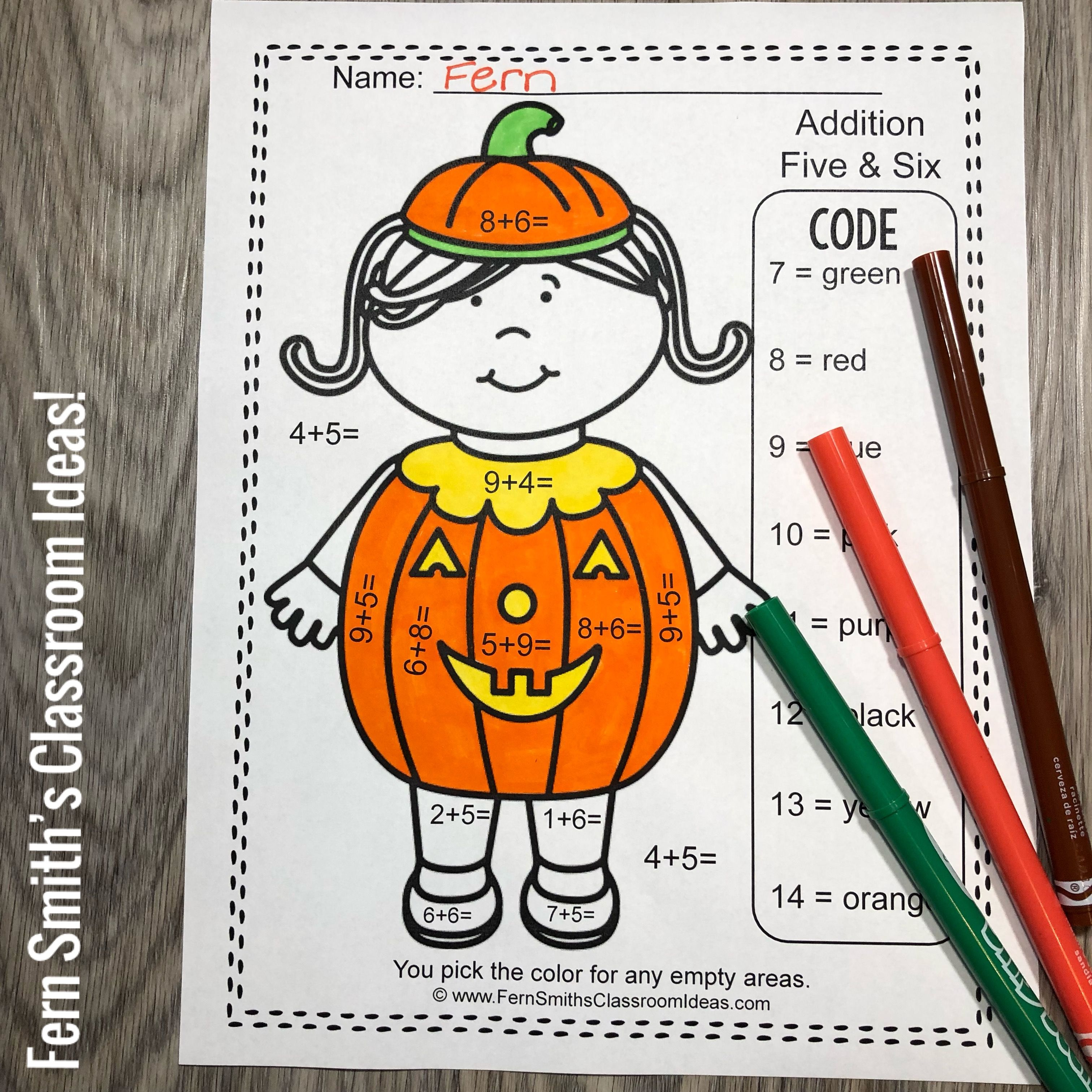 Halloween Color By Number Addition