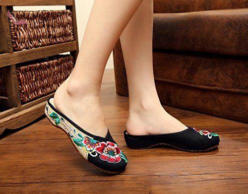 MN brodée Chaussures, Lin, semelle de tendon, style ethnique, d'une femelle Chaussures, mode, confortable, décontracté, blue jeans
