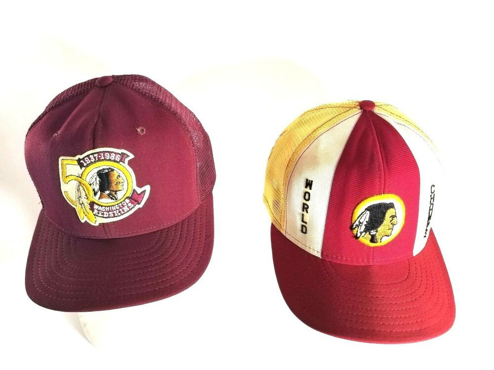 06e5cc1392a Redskin Superbowl 1986 Mesh Snapback Hat Lot of 2 Mens Vintage Patch USA  Made
