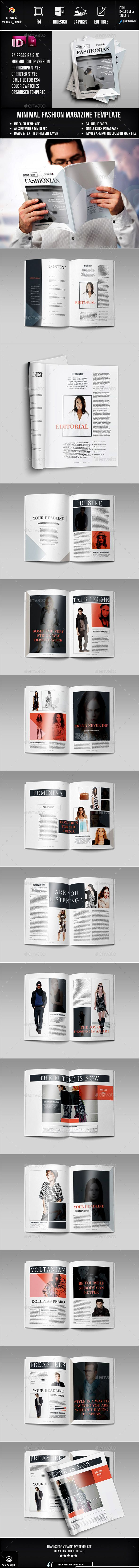 Fashion Magazine 24 Page Layout Template Indesign Indd Design