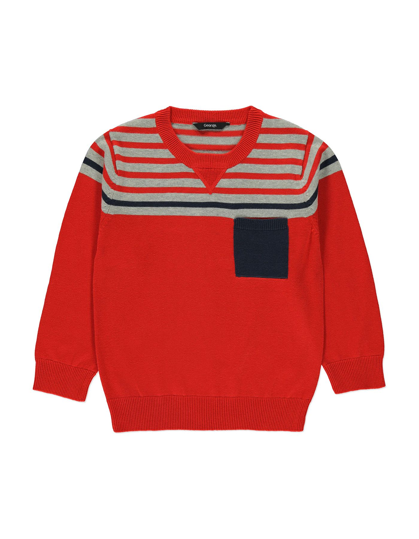 472cb6623a19 Stripe Panel Crew-Neck Jumper