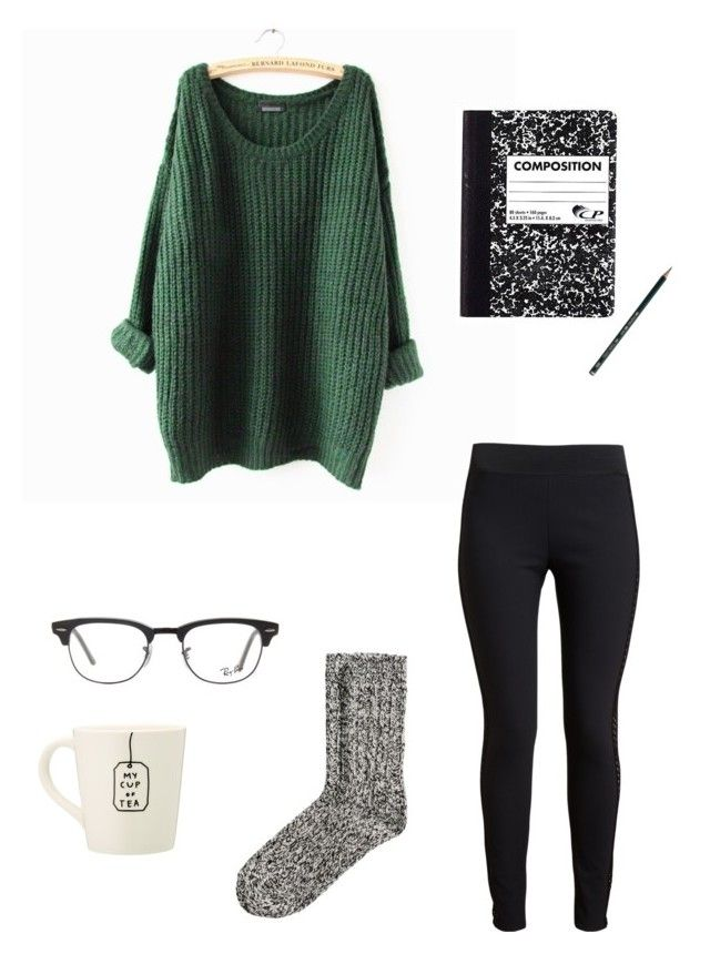 Studying by misschocolate14 on Polyvore featuring STELLA McCARTNEY, H&M, Ray-Ban and Faber-Castell